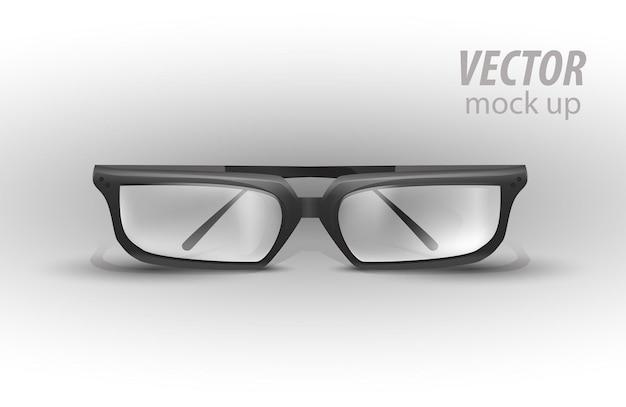 あなたのデザインの準備ができて白いモックアップテンプレートで分離された黒い眼鏡