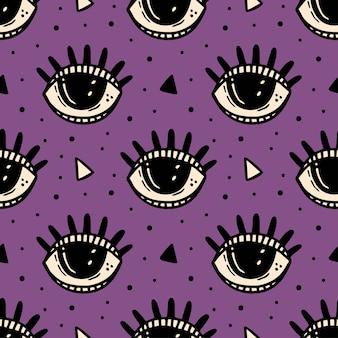 黒い目、魔法のシンボル。ハロウィーンのシームレスなパターン。難解な、超自然的な、超常現象。
