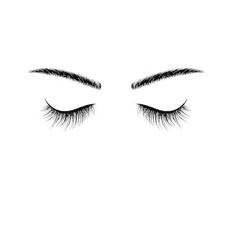 Черные брови и ресницы с закрытыми глазами