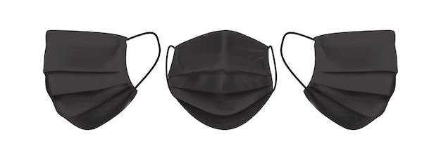 白い背景で隔離の黒いフェイスマスク