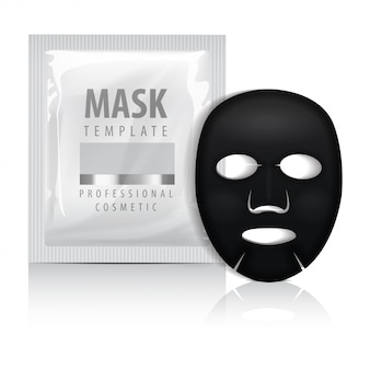 Black facial sheet mask with sachet.