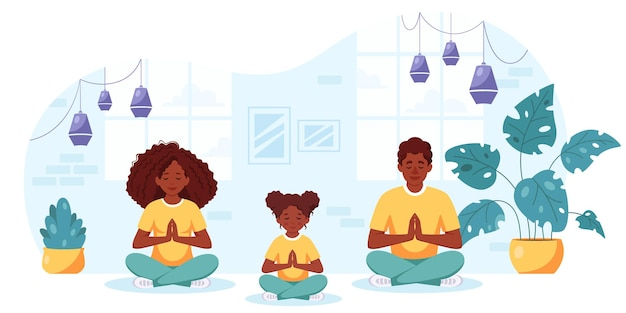 Black family doing yoga in cozy interior family spending time together