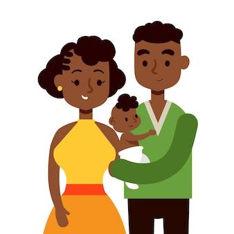 赤ちゃんの手描きデザインの黒人家族