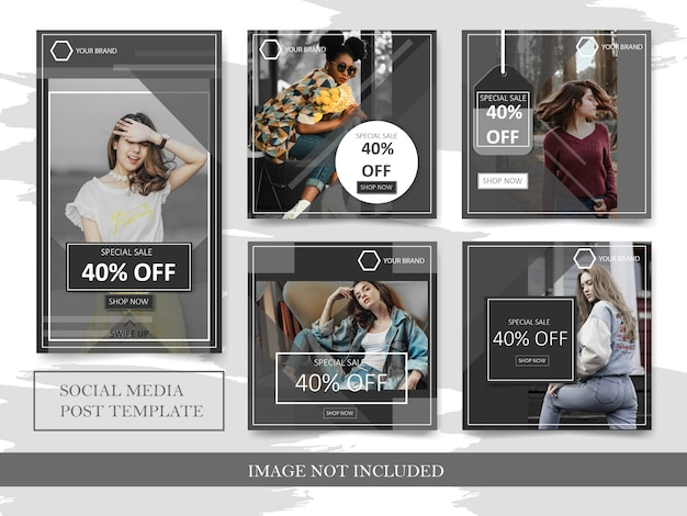Black fashion sale banner square and story set for instagram post