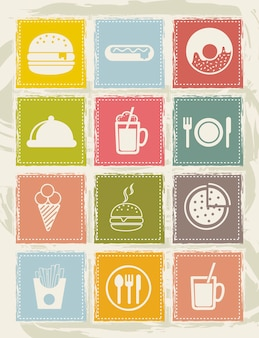 Black fast food icons over grunge background vector