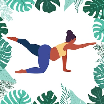 Black fat woman does yoga selflove fitness and excess weight fat girl sitting in yoga pose