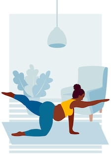 Black fat woman practices yoga asana yoga at home healthy lifestyle and nutrition pregnance