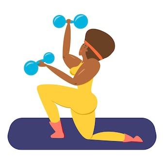 A black female athlete a black woman with dumbbells in her hands shakes her muscles vector illustration