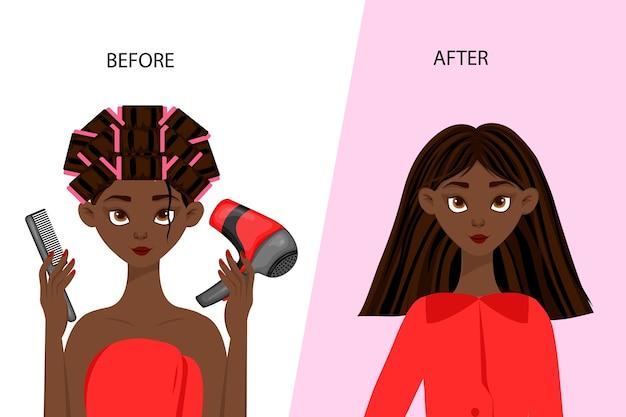 Черный женский персонаж «до» и «после» косметической процедуры. мультяшный стиль.