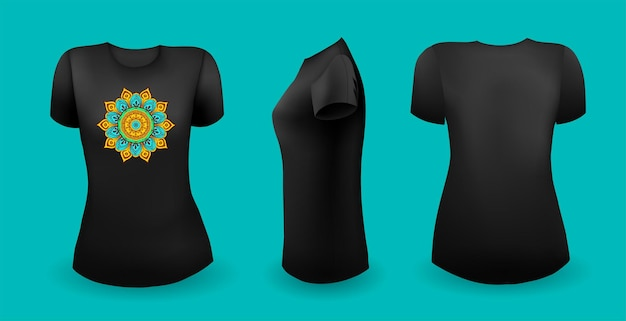 Black female t shirt with mandala front back and side view vector