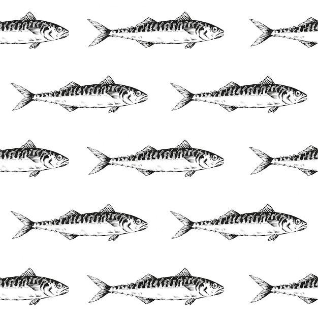 Black fish herring seamless pattern