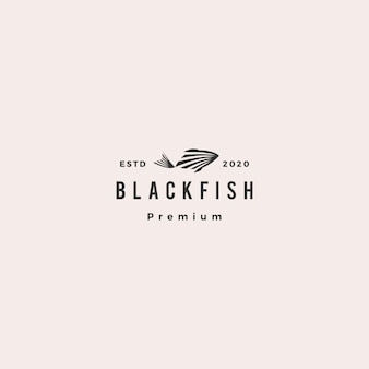 Black fish logo hipster retro vintage  icon illustration