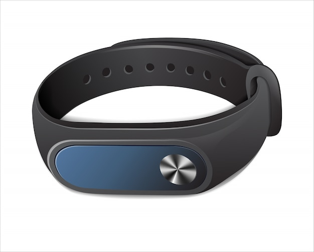 Black fitness bracelet to control physical activity,