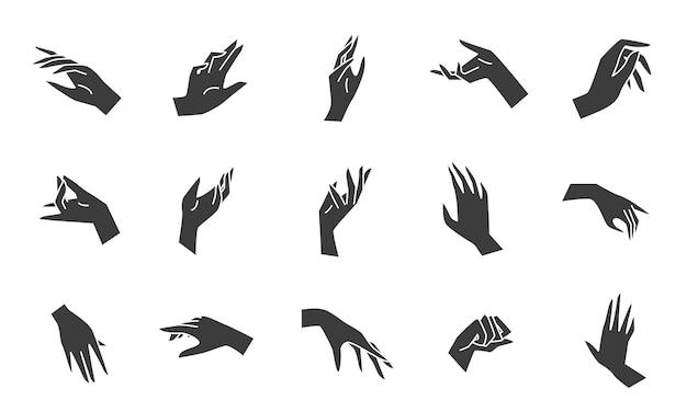 ミニマルな手のシンボルの黒フラットスタイルベクトルコレクション