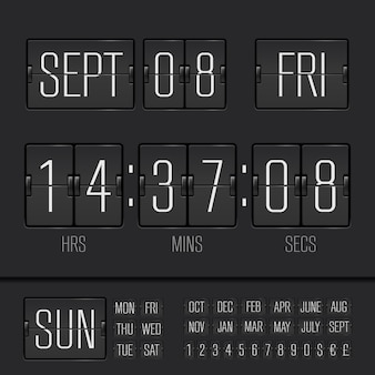 Black flip clock vector digital week timer