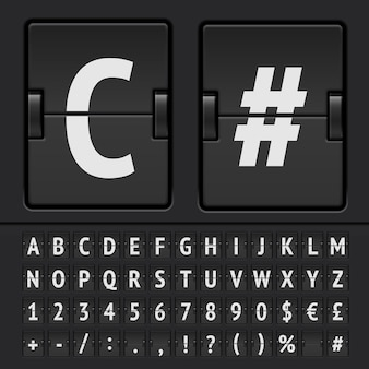 블랙 플립 점수 판 알파벳, 숫자 및 기호. 벡터 eps10