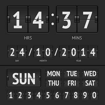 요일의 날짜와 시간이 표시된 블랙 플립 스코어 보드 디지털 타이머