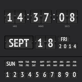 日付と時刻が記載されたブラックフリップスコアボードデジタルタイマー