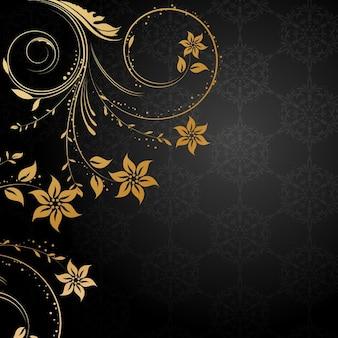 Sfondo decorativo floreale con elementi di design in oro su fondo nero