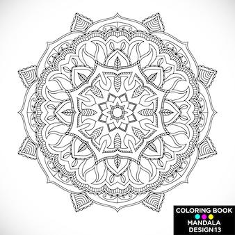 Black floral mandala for coloring book
