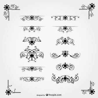 Black floral ornaments collection