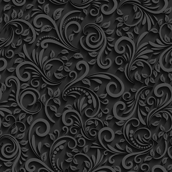 Black floral seamless pattern with shadow.