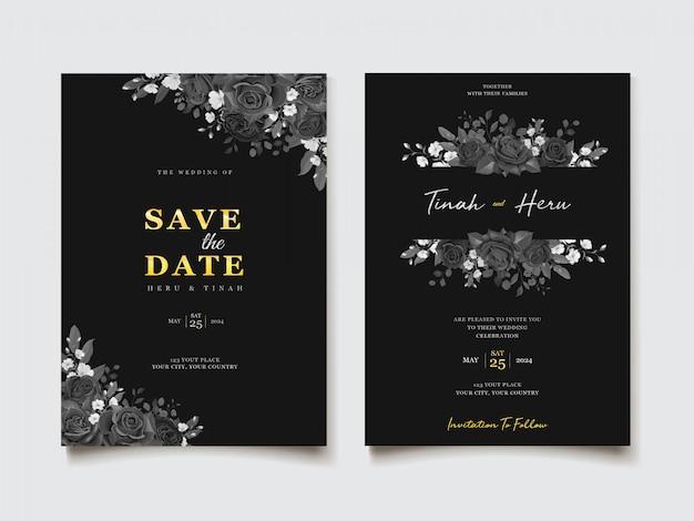 결혼식 초대 카드 템플릿 프리미엄 벡터
