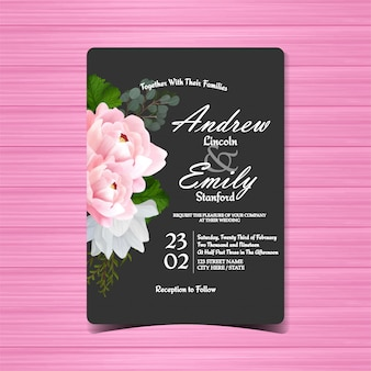 Black floral wedding invitation with beautiful pink peony