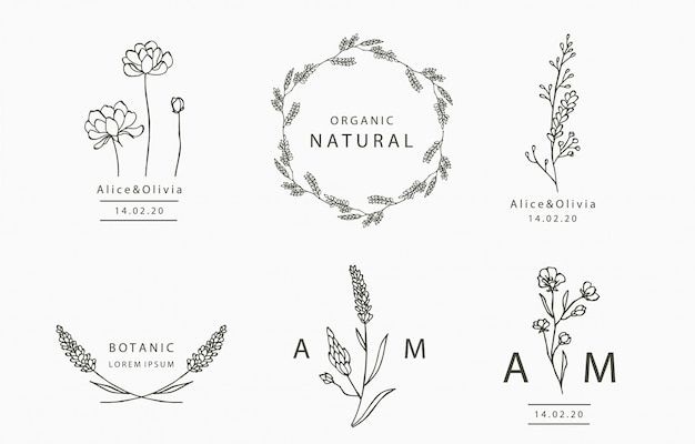Black flower logo collection with leaves,geometric. illustration for icon,logo,sticker,printable and tattoo