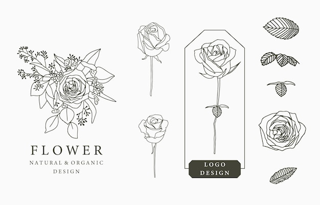 Black flower logo collection with leaves,geometric.