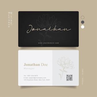 Black flower minimal business card with handwritten text