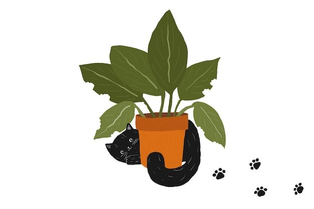 黒のふわふわ脂肪かわいい猫と鍋の植物黒と白の手描きの子猫