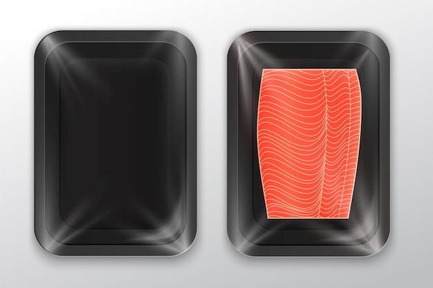 Black foam tray with plastic film mockup modern style fish label Premium Vector