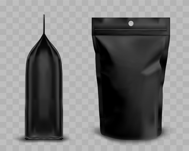 Black foil pouch with zipper, doypack for food