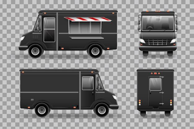 검은 음식 트럭.