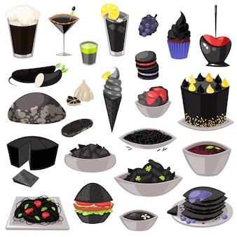 블랙 파스타 또는 쌀과 검은 음식 벡터 거무스름한 요리 식사 블랙 잭 디저트 아이스크림이나 케이크 흰색 배경에 고립의 블랙 잭 그림 흑도 세트에 흑맥주 음료