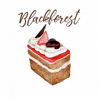 Black forest cake, hand draw sketch water color.