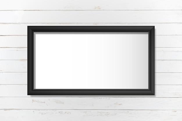 Черная рамка макет на стене вектор