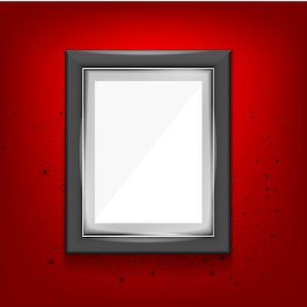 Black frame template on a red background with abstract elements