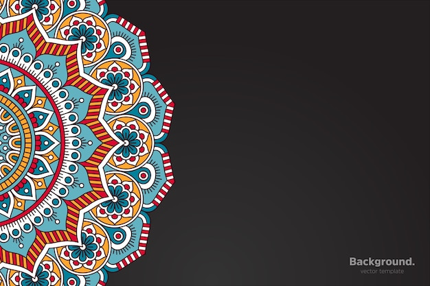 Black frame vector with abstract oriental mandala