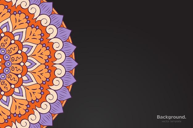 Черная рамка вектор с абстрактной восточной мандалы