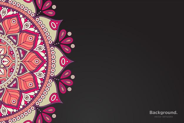 抽象オリエンタル曼荼羅と黒フレームベクトル