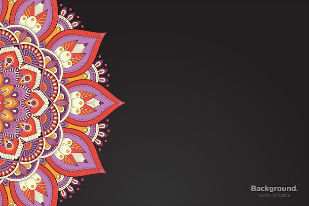Vettore di cornice nera con mandala orientale astratta