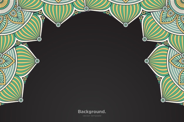 抽象的なオリエンタル曼荼羅と黒のフレーム