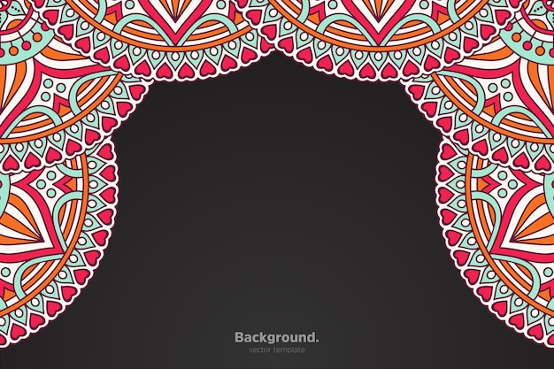 Black frame with abstract oriental mandala