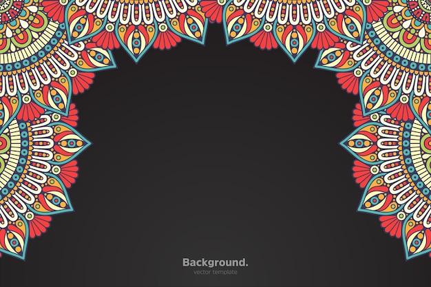 Черная рамка с абстрактной восточной мандалой