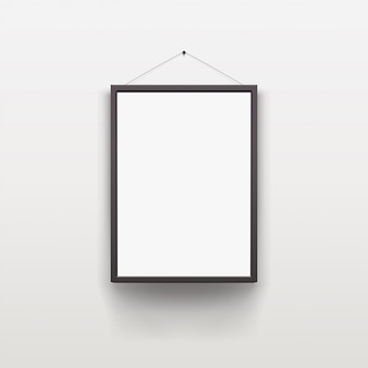 Black frame with shadow on grey