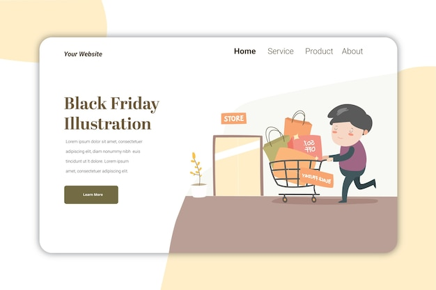 Black free day ilustration landing page   template cute caracter