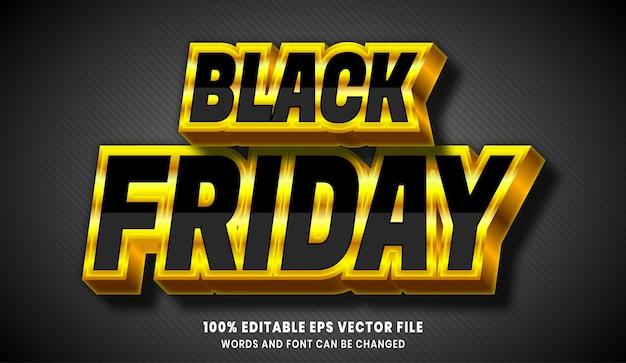 Black friday 3d editable text style effect