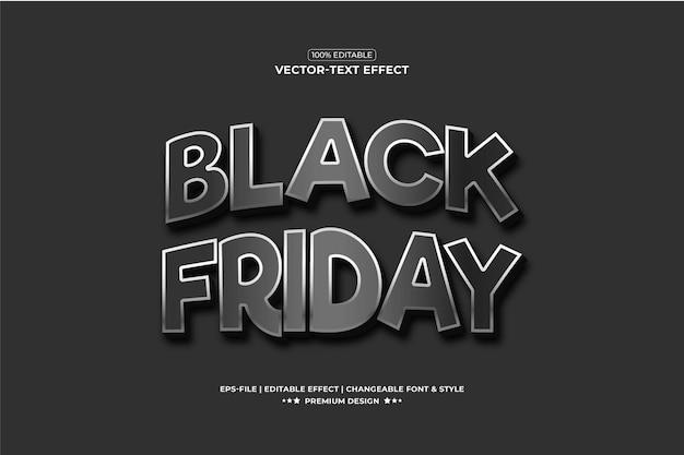 Черная пятница 3d стиль текстового эффекта премиум векторы эффекты шрифта презентация типография текстура